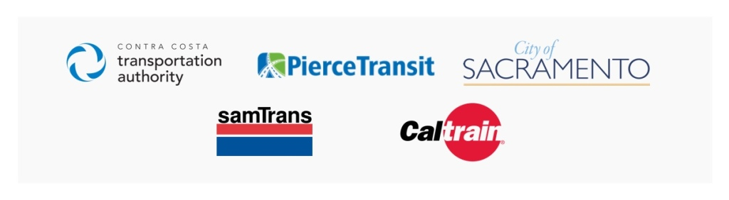 Miles city and transit partners include Contra Costa Transportation Authority, PierceTransit, City of Sacramento. samTrans, and Caltrain.