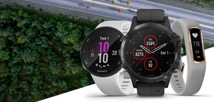 Three Garmin fitness trackers and smartwatches