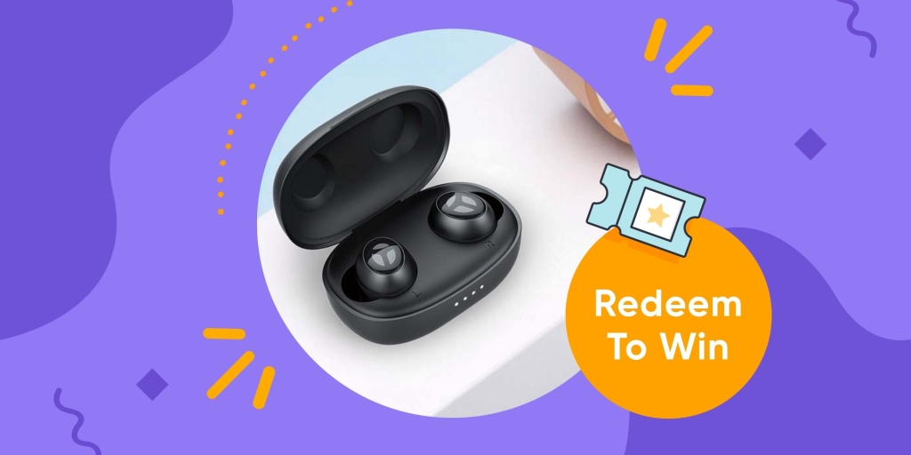 "Pair of Tranya wireless earbuds and text that says ""Redeem to win"""