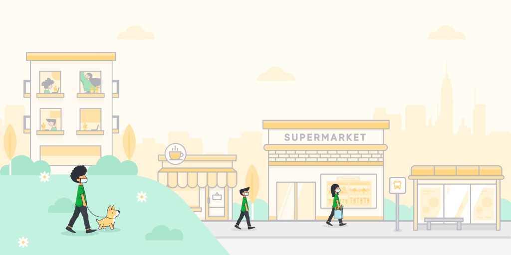 City landscape showing a supermarket building and 3 people walking wearing masks and keep distance from one another.