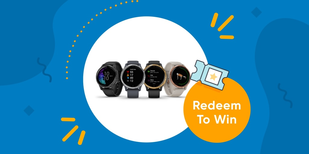 "picture of four smartwatches with text that says ""Redeem To Win"""