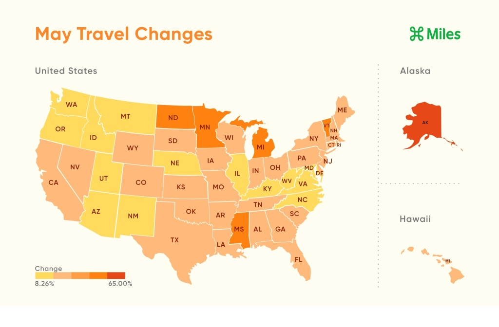Map of the United States colored from yellow to orange to red showing the changes in travel between states comparing April to May.