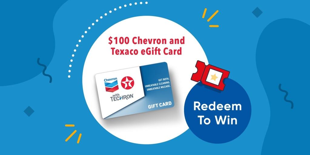 $100 Chevron and Texaco eGift Card - Redeem to win