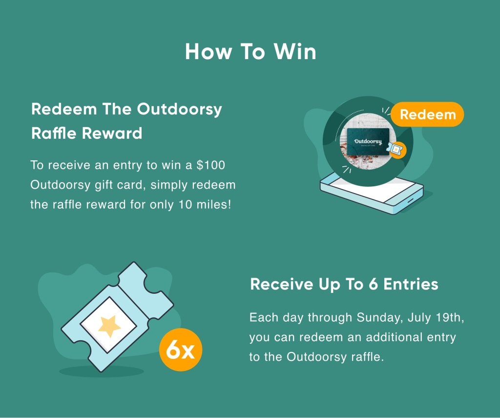 How to Win Redeem the outdoorsy raffle reward To receive an entry to win a $100 Outdoorsy gift card, simple redeem the raffle reward for only 10 miles!  Receive up to 6 entries Each day through Sunday, July 19th, you can redeem an additional entry to the Outdoorsy raffle.